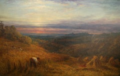 Harvest Time - Surrey Landscape - Victorian British oil painting sunset fields