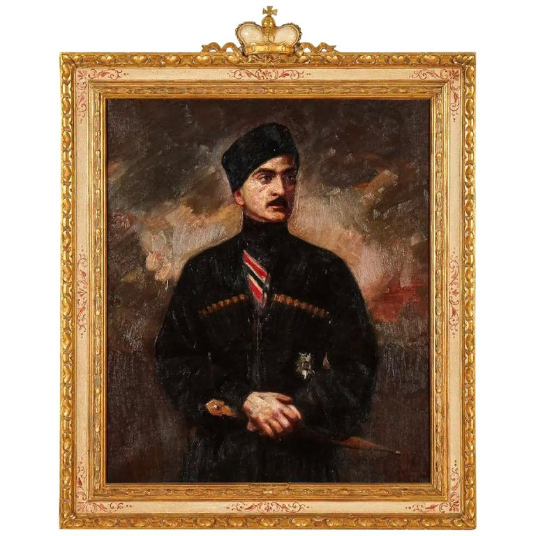 George Matchabelli Portrait Oil Painting For Sale