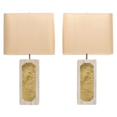 George Matthias Pair of Brass Etched and Travertine Lamps