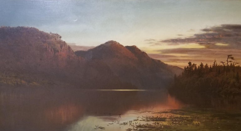 George McCord Landscape Painting - Crescent Moon over Lake Placid
