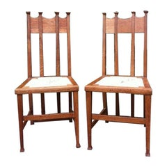 George Montague Ellwood, Made by J S Henry, a Pair of Matching Oak Dining Chairs