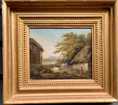 19th century Victorian English Antique landscape with cottage, figure and cows