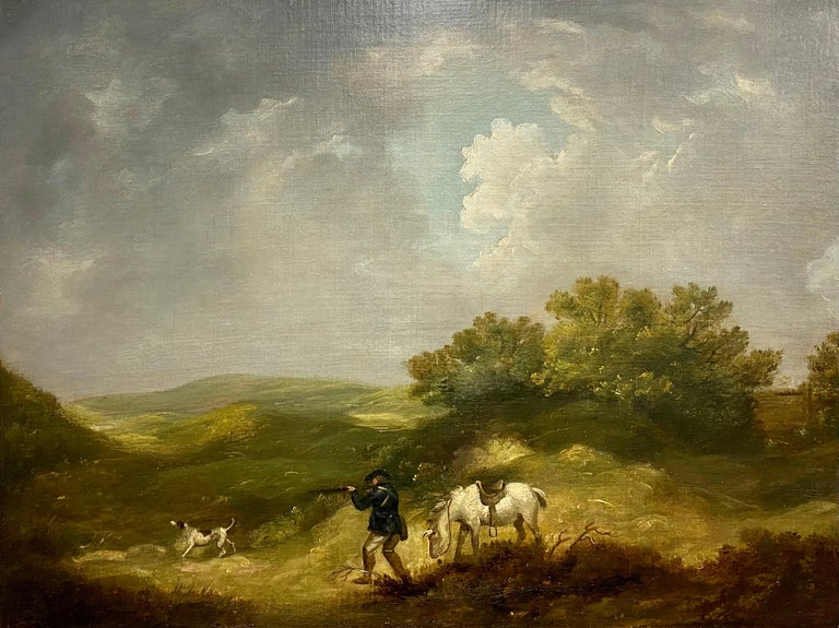 A gentleman shooting in a landscape, with his horse and dog - Brown Landscape Painting by George Morland