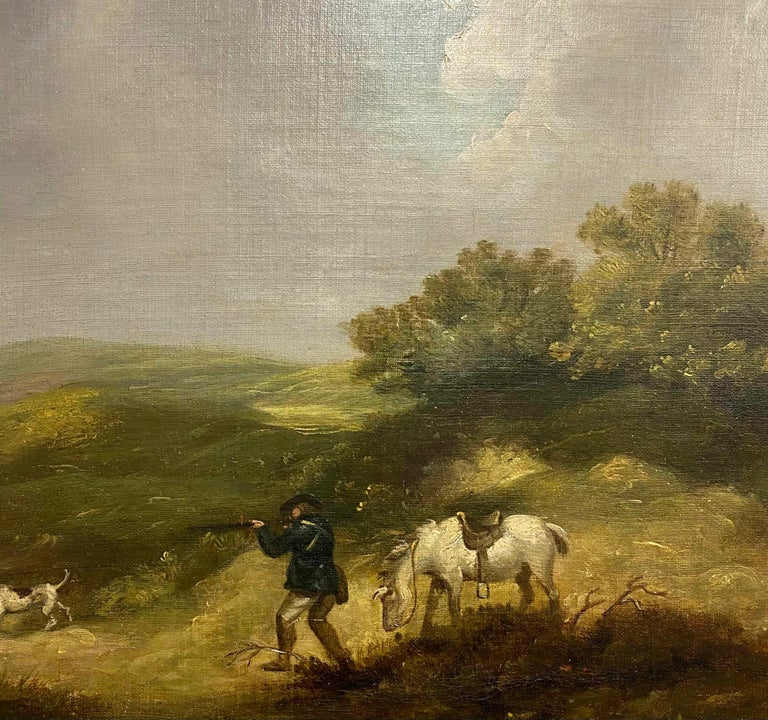 George Morland (1763-1804) A gentleman shooting in a landscape Oil on canvas 17 7/8 x 24 1/8 in 45.5 x 61 cm  George Morland was born in June 1763. An English painter, mainly of scenes from rural life, the son and pupil of Henry Morland (1716–97) a
