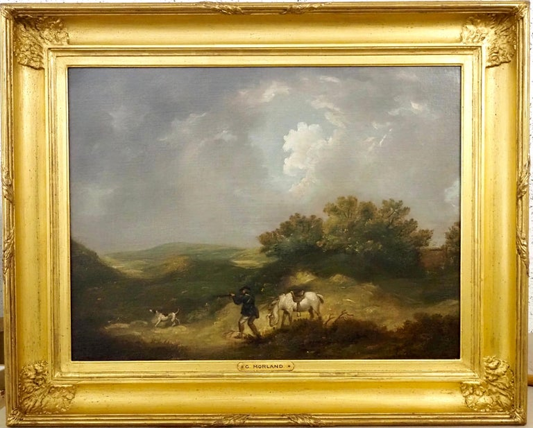 George Morland Landscape Painting - A gentleman shooting in a landscape, with his horse and dog