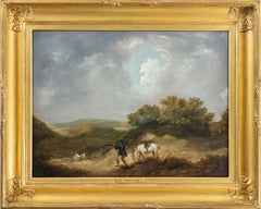 A gentleman shooting in a landscape, with his horse and dog