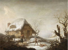 Winter Games - 18th Century Oil, Figures in Snow Landscape by George Morland