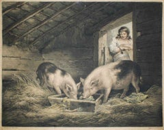 Girls and Pigs - Original Etching by William Ward After George Morland - 1797