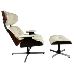 George Mulhauser Bentwood Swivel-Tilt Lounge Chair and Ottoman for Plycraft