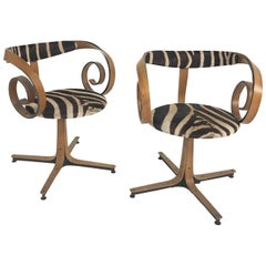 George Mulhauser for Plycraft Sultana Chairs Restored in Zebra Hide, Pair