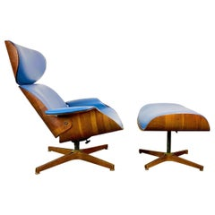 George Mulhauser Mr. Chair and Ottoman for Plycraft with New Custom Leather