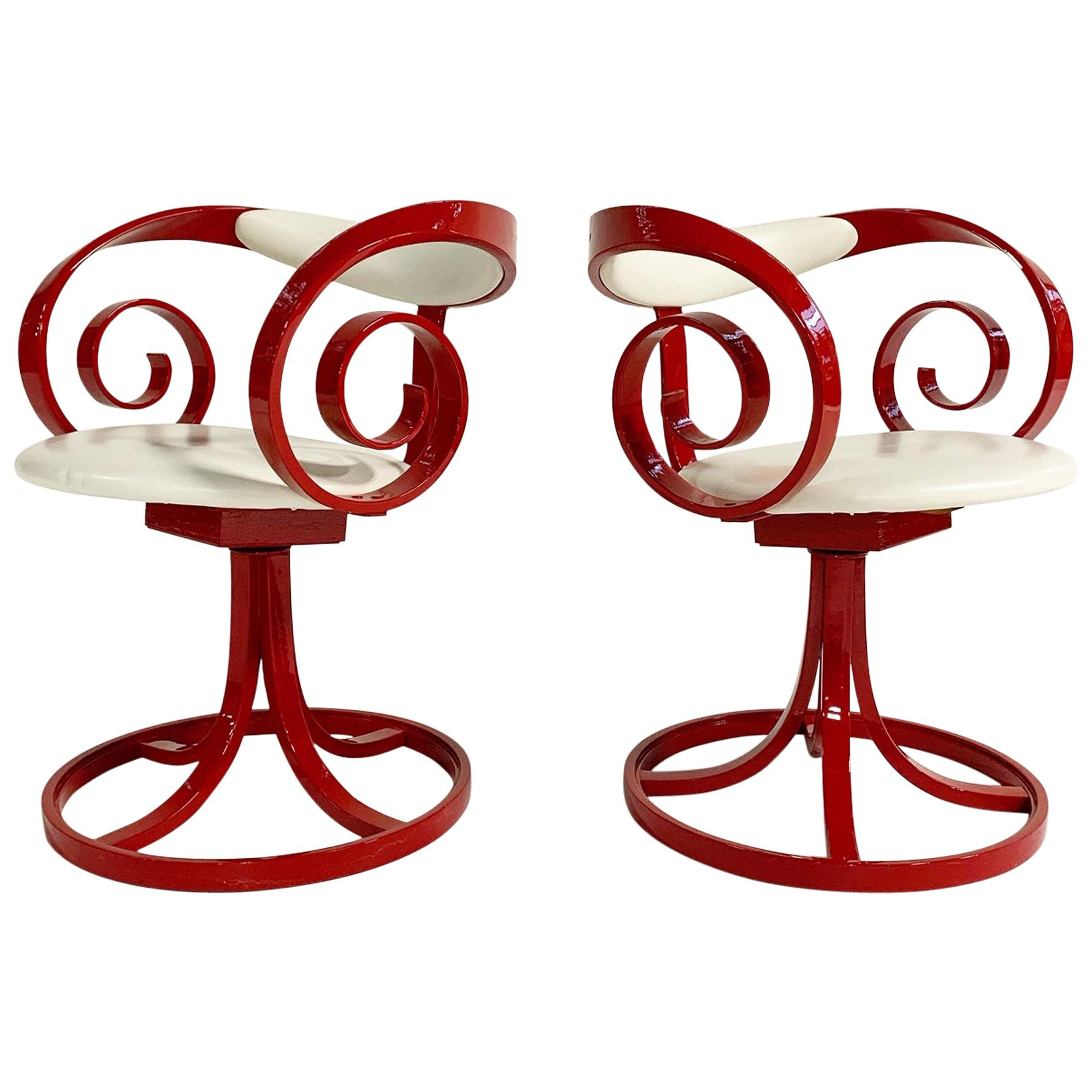 George Mulhauser Red Sultana Chairs, Pair