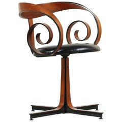 "George Mulhauser ""Scroll"" Swivel Armchair for Plycraft"