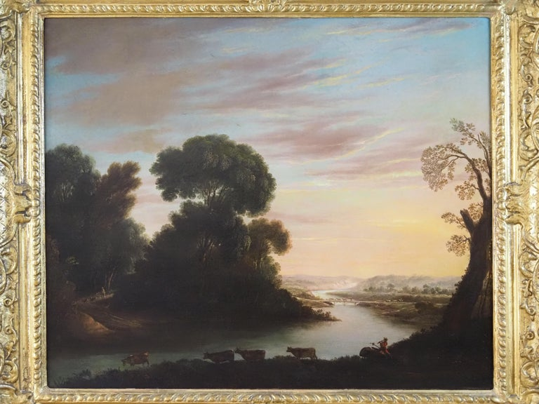 A herdsman with cattle in a classical river landscape - Old Masters Painting by George Mullins