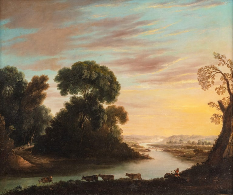 A herdsman with cattle in a classical river landscape - Painting by George Mullins