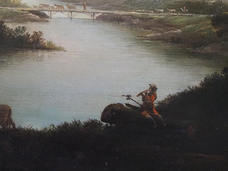 A herdsman with cattle in a classical river landscape - Brown Landscape Painting by George Mullins
