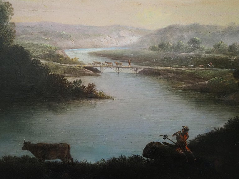 Attributed to George Mullins (fl 1756-1775) A herdsman with cattle in a classical river landscape Oil on canvas Canvas size - 25 x 30 in Framed size - 33 x 38 in  George Mullins was an accomplished Irish landscape painter. A pupil of James Mannin in