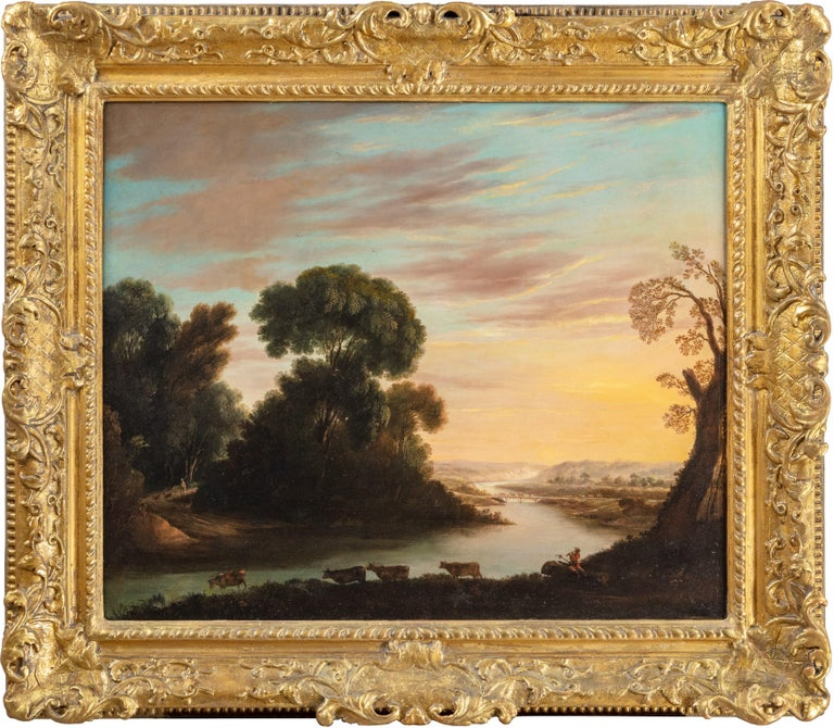 George Mullins  Landscape Painting - A herdsman with cattle in a classical river landscape