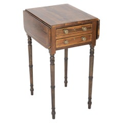 English Regency Rosewood Inlaid Drop-Leaf Table