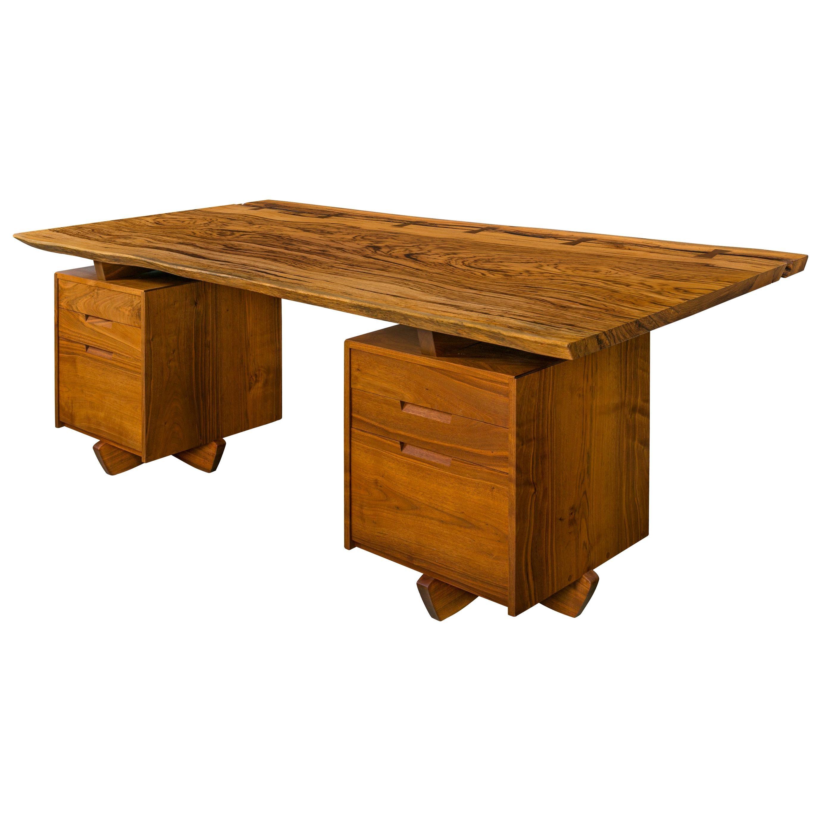 George Nakashima African Zebrawood & Walnut Double Pedestal Desk, USA 1986