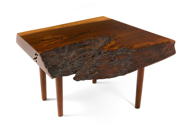 George Nakashima Black Walnut Free Edge Two-Tier End Tables, USA, 1950s For Sale 5