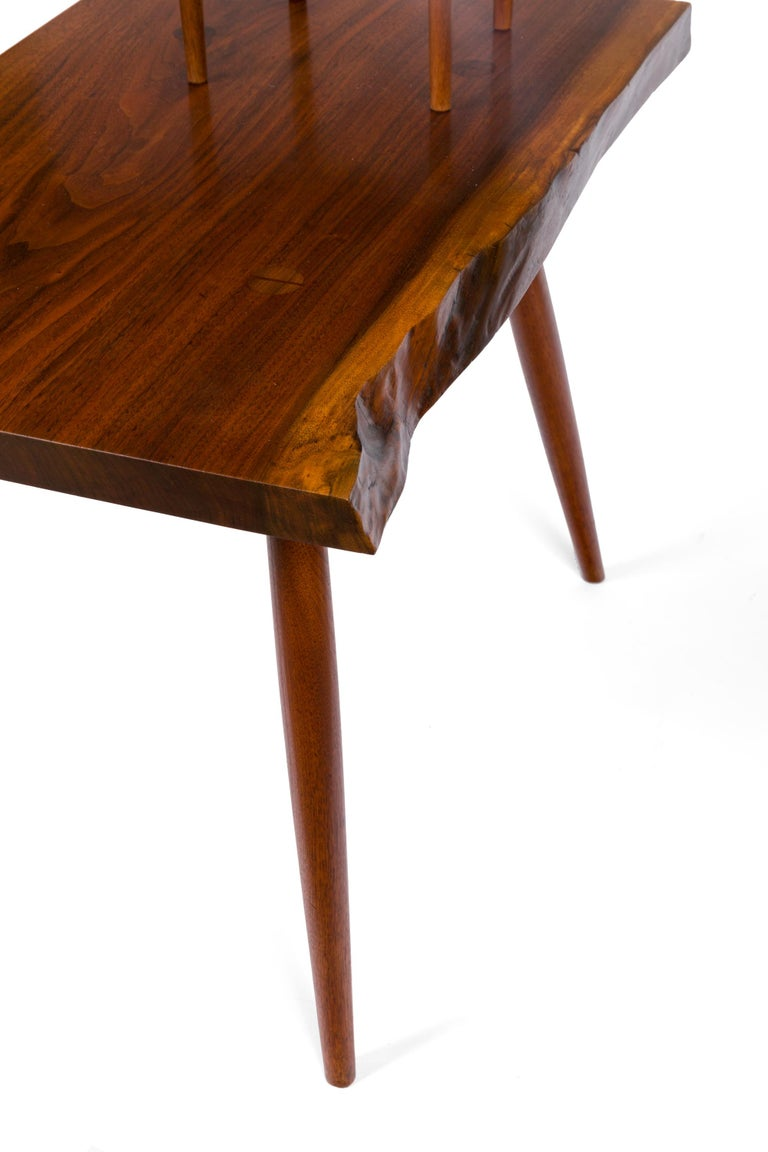George Nakashima Black Walnut Free Edge Two-Tier End Tables, USA, 1950s For Sale 8