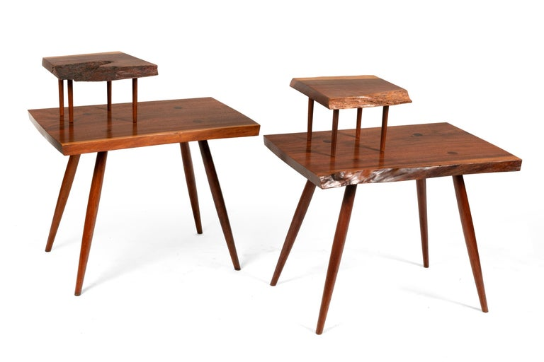 American George Nakashima Black Walnut Free Edge Two-Tier End Tables, USA, 1950s For Sale