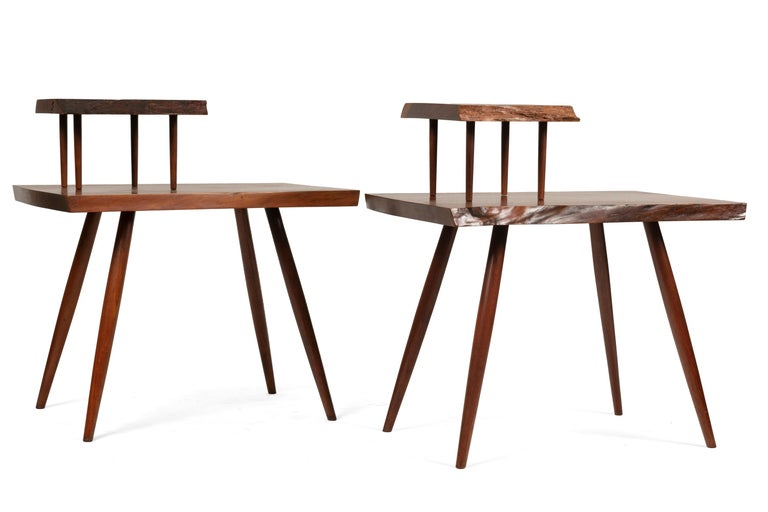 George Nakashima Black Walnut Free Edge Two-Tier End Tables, USA 1956 In Good Condition For Sale In New York, NY