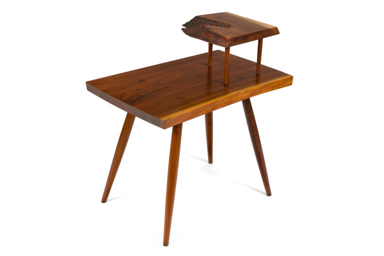 Mid-20th Century George Nakashima Black Walnut Free Edge Two-Tier End Tables, USA, 1950s For Sale