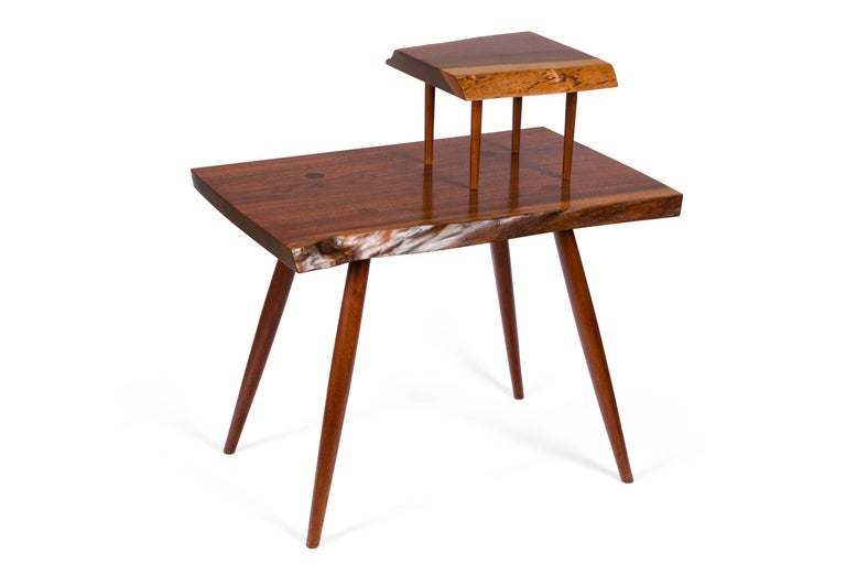George Nakashima Black Walnut Free Edge Two-Tier End Tables, USA 1956 For Sale 1