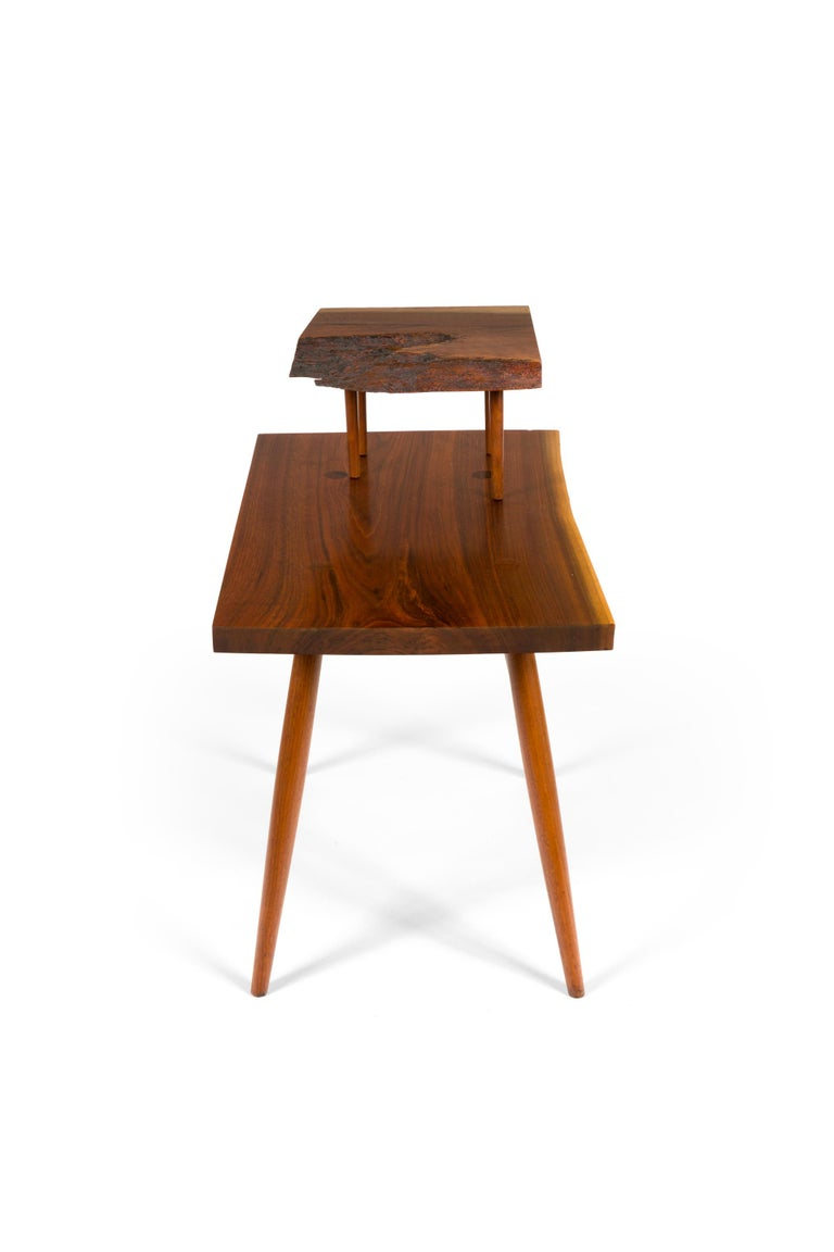 George Nakashima Black Walnut Free Edge Two-Tier End Tables, USA, 1950s For Sale 2
