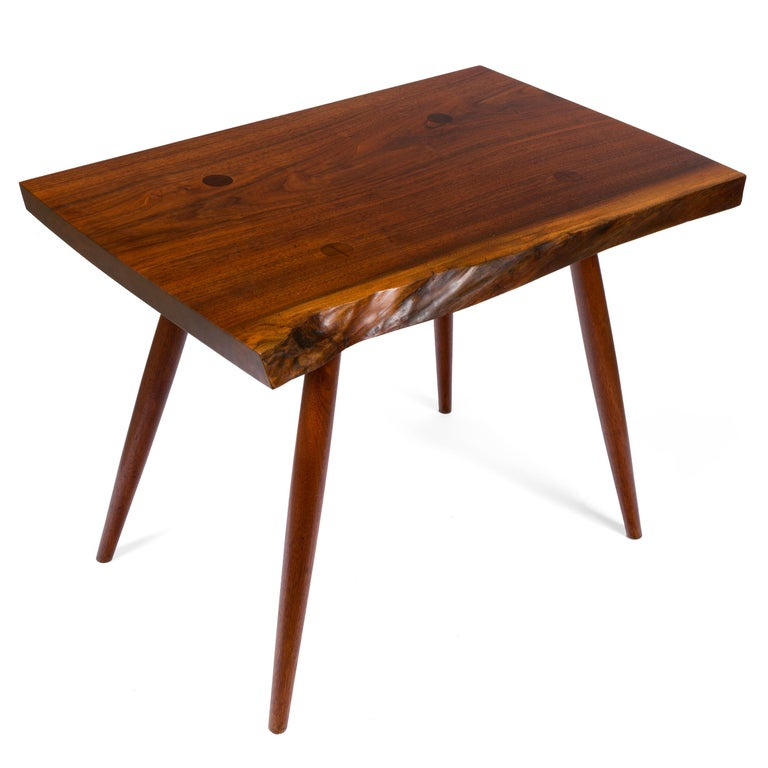 George Nakashima Black Walnut Free Edge Two-Tier End Tables, USA, 1950s For Sale 3