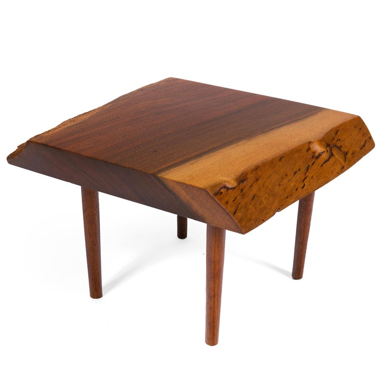 George Nakashima Black Walnut Free Edge Two-Tier End Tables, USA, 1950s For Sale 4