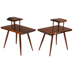 George Nakashima Black Walnut Free Edge Two-Tier End Tables, USA, 1950s