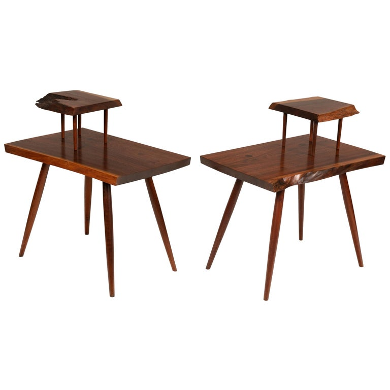 George Nakashima Black Walnut Free Edge Two-Tier End Tables, USA, 1950s For Sale