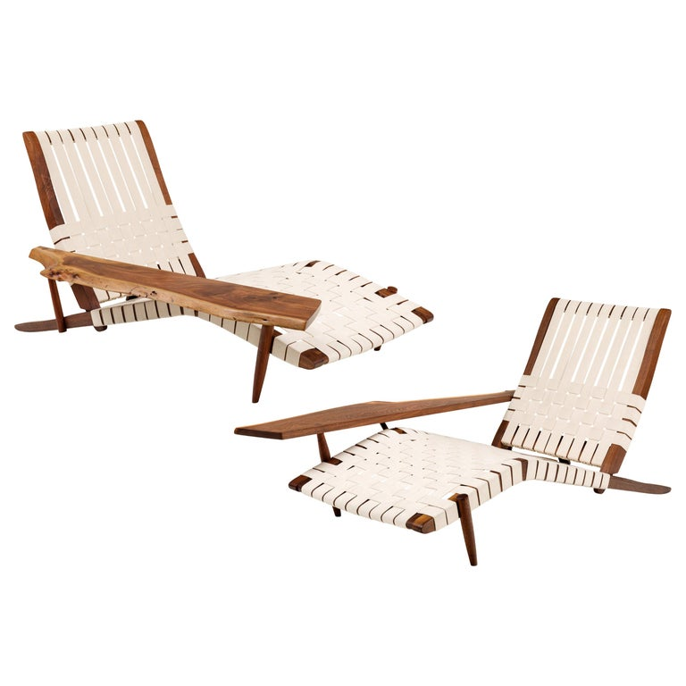 George Nakashima Long chairs, 1959 and 1961, offered by Lost City Arts