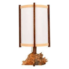 George Nakashima Buckeye Burl and Parchment Table Lamp, USA 1970s
