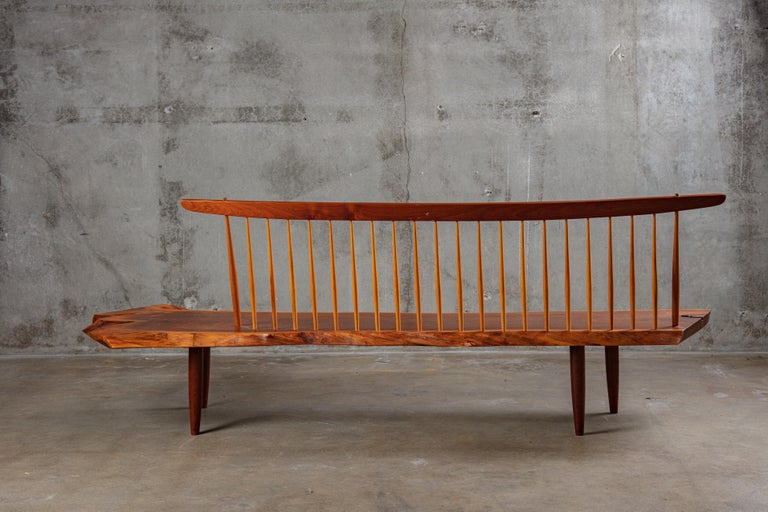 George Nakashima Conoid bench, New Hope, PA, 1983 (bench comes with copy of original purchase invoice).
