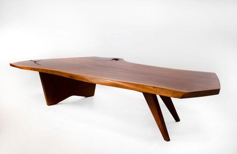Mid-Century Modern George Nakashima Conoid Coffee Table Free Edge English Walnut Slab, 1963 For Sale