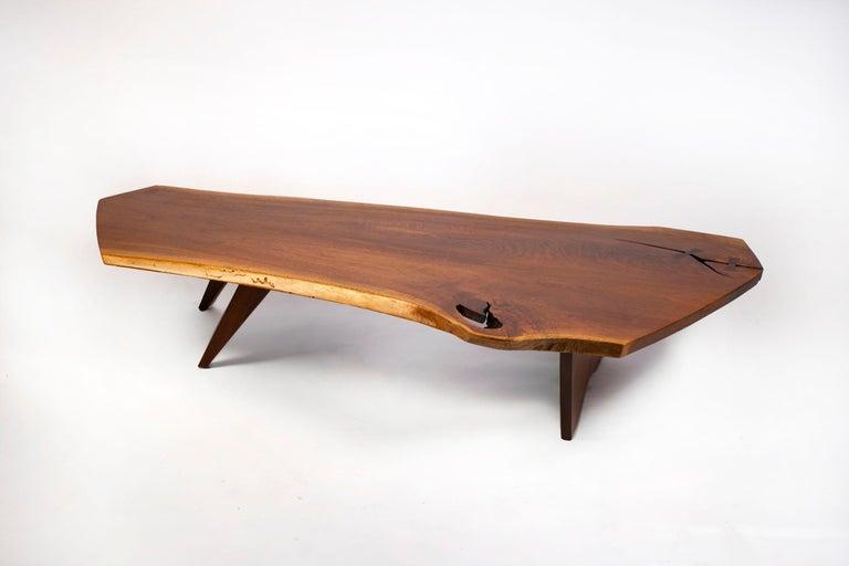20th Century George Nakashima Conoid Coffee Table Free Edge English Walnut Slab, 1963 For Sale