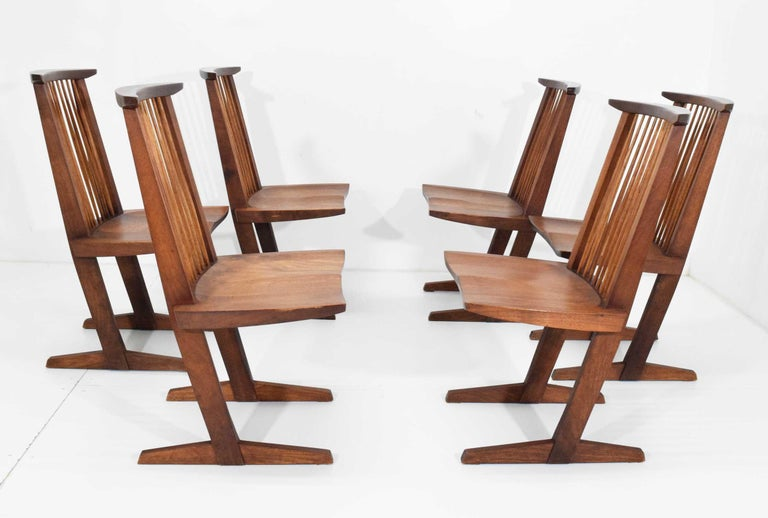 George Nakashima Conoid Dining Chairs, Set of Six, 1970s For Sale 4