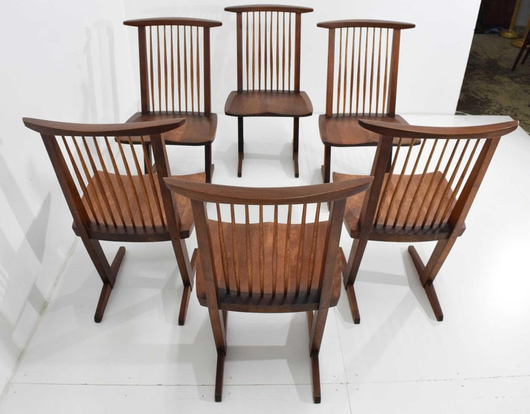 George Nakashima Conoid Dining Chairs, Set of Six, 1970s For Sale 5