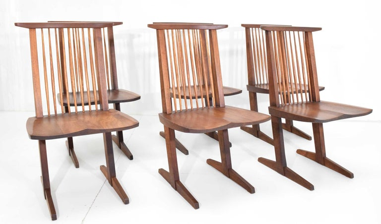 Mid-Century Modern George Nakashima Conoid Dining Chairs, Set of Six, 1970s For Sale