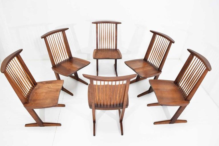 North American George Nakashima Conoid Dining Chairs, Set of Six, 1970s For Sale