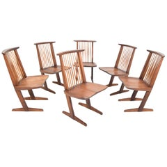 George Nakashima Conoid Dining Chairs, Set of Six, 1970s