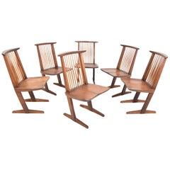 George Nakashima Conoid Dining Chairs, Set of Six, 1970s