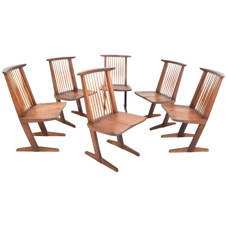 George Nakashima Conoid Dining Chairs, Set of Six, 1970s For Sale