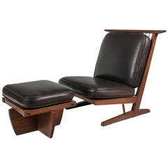 George Nakashima Conoid Lounge Chair and Ottoman with Leather Cushions, USA 1989