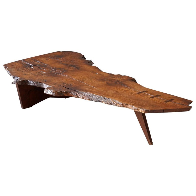 """George Nakashima, Exceptional and Large """"Slab"""" Coffee Table, Burl, Studio, 1961 For Sale"""