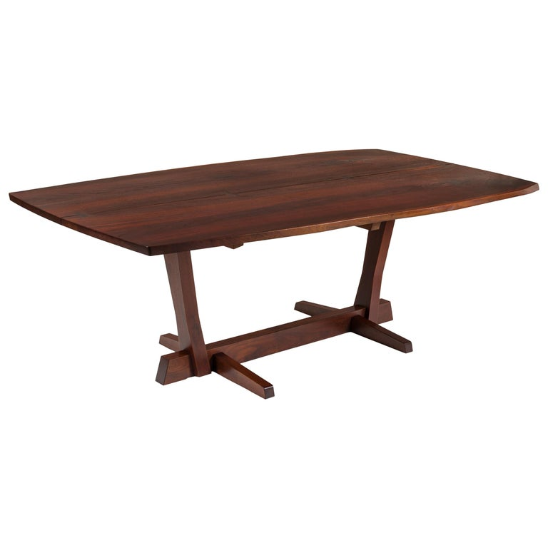 George Nakashima Fine Walnut & Rosewood Conoid Dining Room Table, USA, 1965 For Sale
